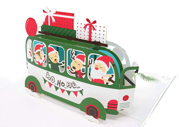 Christmas Bus Funny Pop Up Christmas Card