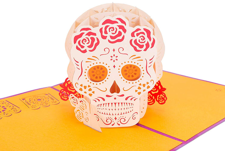 PopLife Pop-Up card features colorful Mexican sugar skull