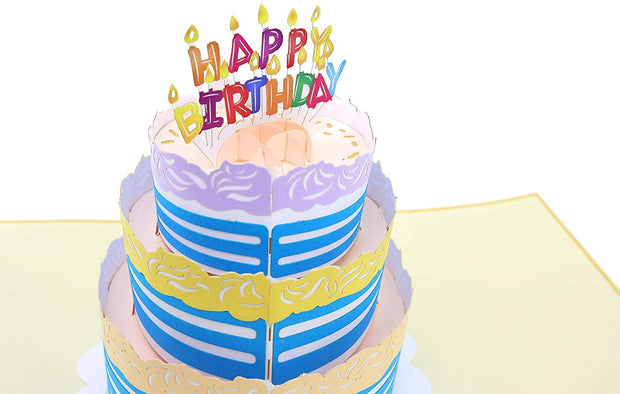 "PopLife Pop-Up card features Colorful 3 tier birthday cake with ""HAPPY BIRTHDAY"" candles on top"