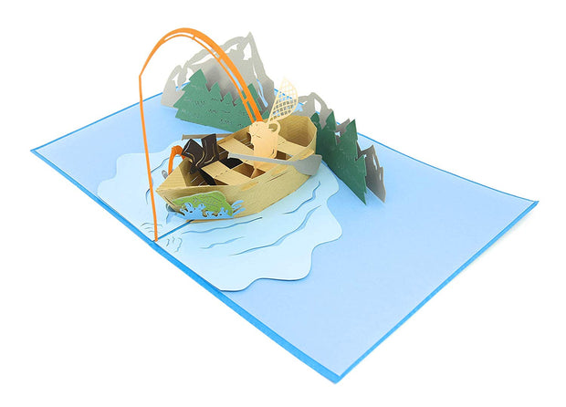 PopLife Pop-Up card features fishing vessel in the river mountain