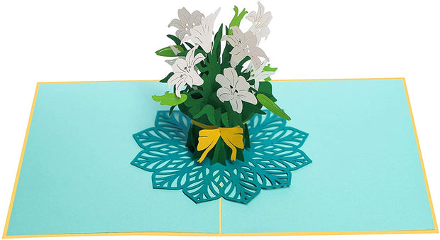 White Lily Bouquet Pop Up Card