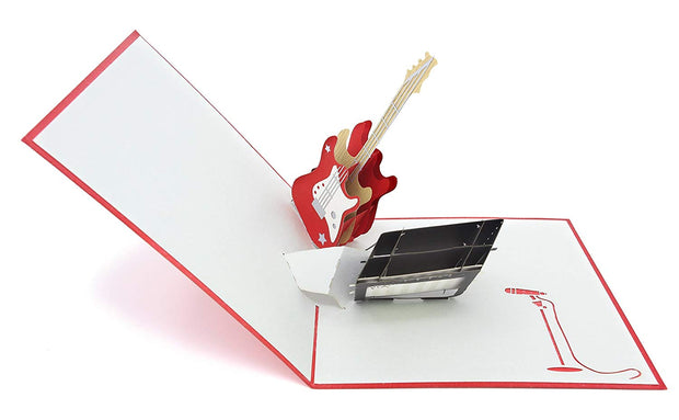 Greeting card features acoustic bass instrument