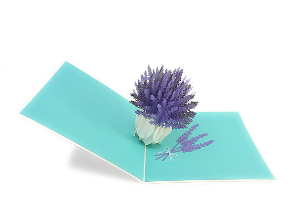 A bunch of purple flower in a vase pop-up card