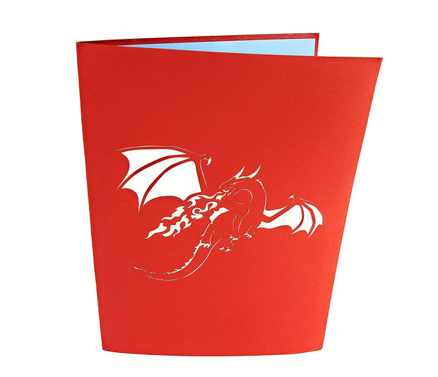 Front cover of card with red color features flying fire-breathing dragon