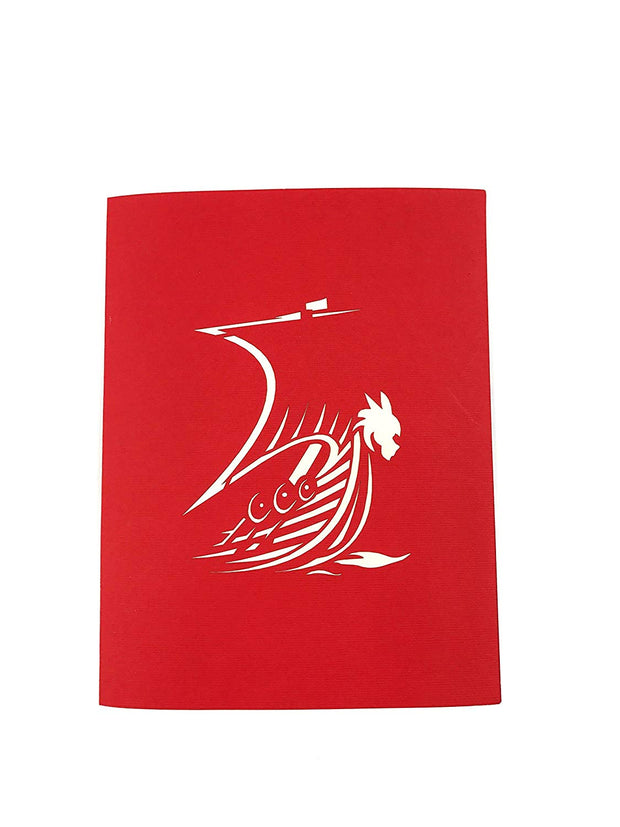 Front cover of card with red color features Viking ship