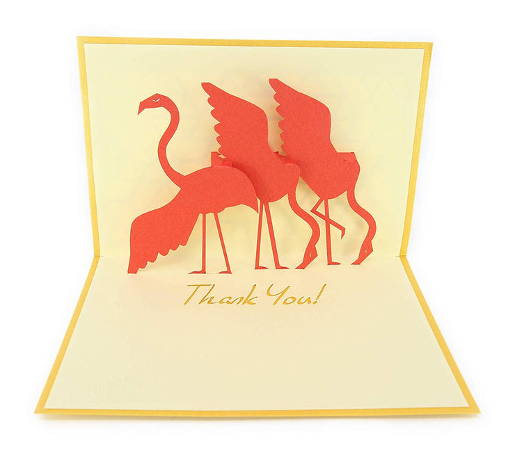 PopLife flamingos with thank you note pop-up card