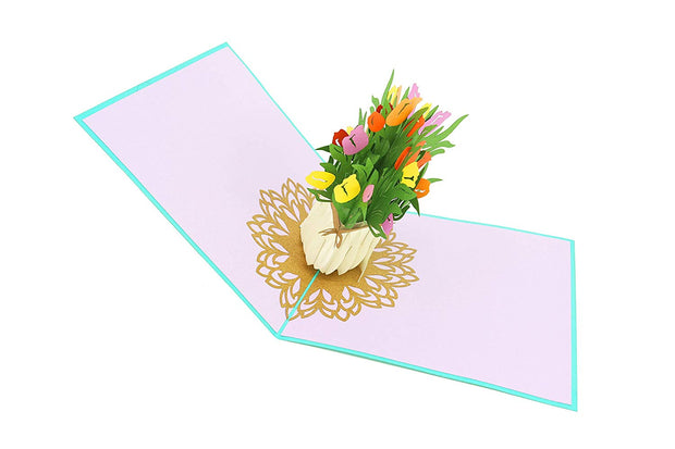 Spring Tulip Flower Bouquet Pop Up Card