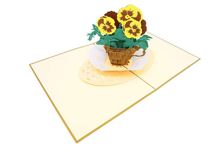 Garden Pansy Teacup Flower Pop Up Card