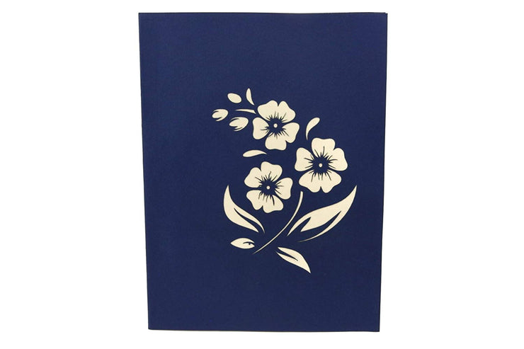 Front cover of card with blue color features beautiful flowers