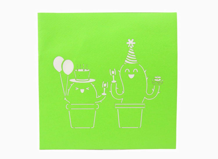 Front cover of card with green color features two cactus party
