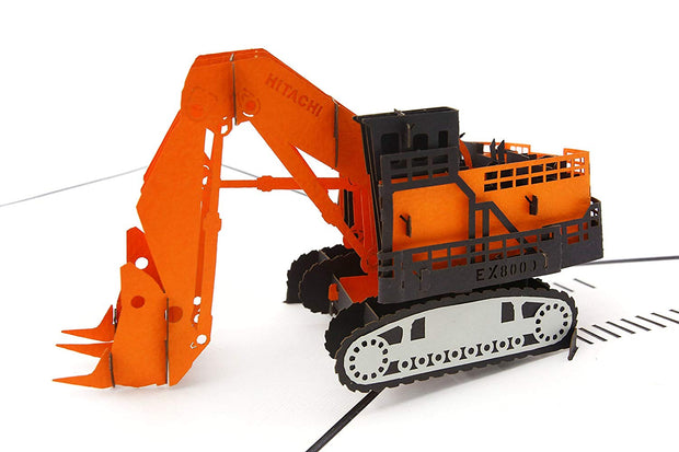 Digger Excavator Machine Pop Up Card