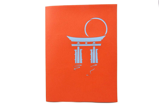 Front cover of card with red color features Japanese Torii