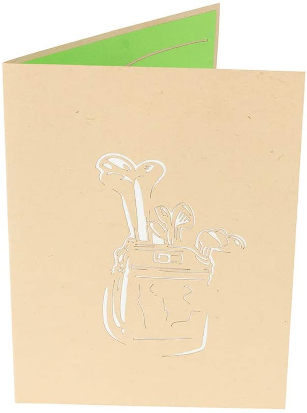 Front cover of card with beige color features bag of clubs design