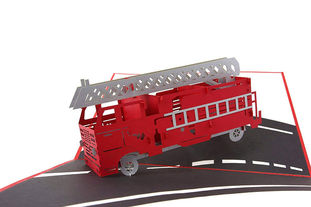 Fire Engine Truck Pop Up Card