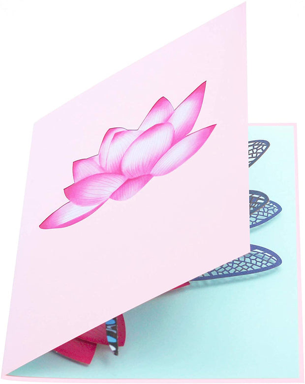 Blue Dragonfly and Lotus Pop Up Card
