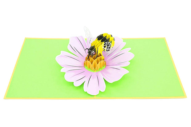 three-dimensional honey bethree-dimensional honey bee and cosmo flower pop upe and cosmo flower pop up