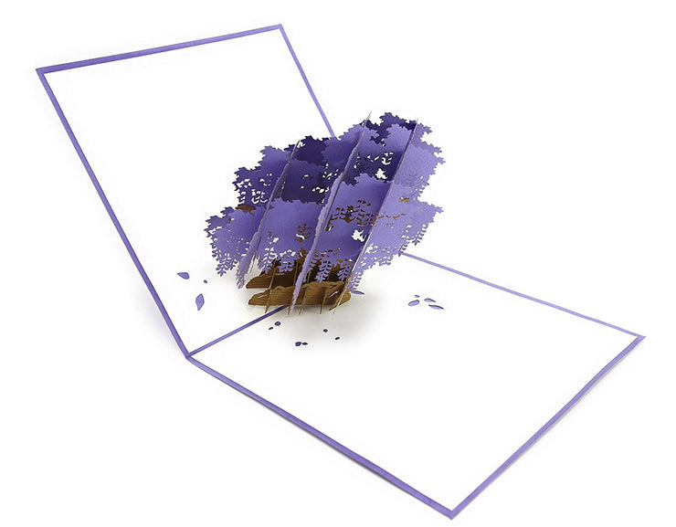 Purple Wisteria Tree Pop Up Card
