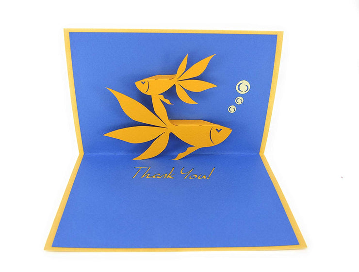 PopLife fishes with thank you note pop-up card