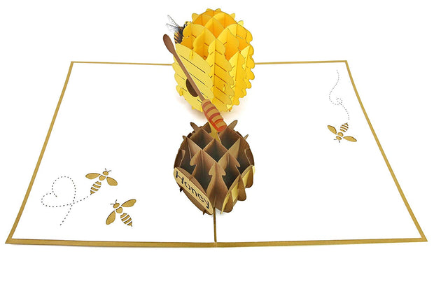 Intricate greeting card, a 3D colorful bee and beehive with honeypot pop-up
