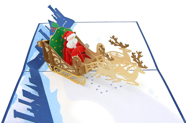 Santa's Sleigh and Reindeer Pop Up Card