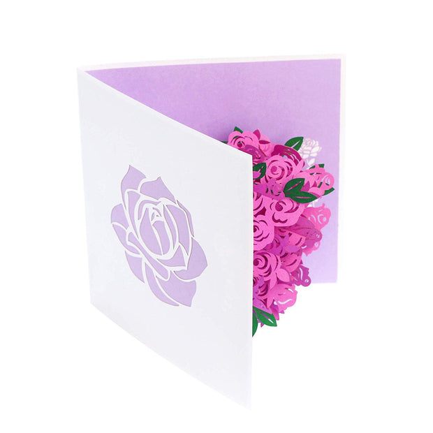 PopLife Pink Rose Bouquet Card Folds Flat For Mailing