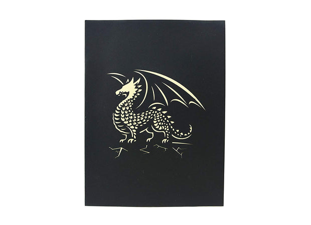 Front cover of card with black color features legendary dragon