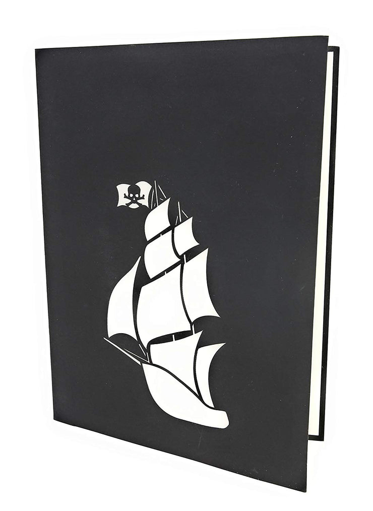 7.5 inches x 6 inches black card with pirate ship cutout