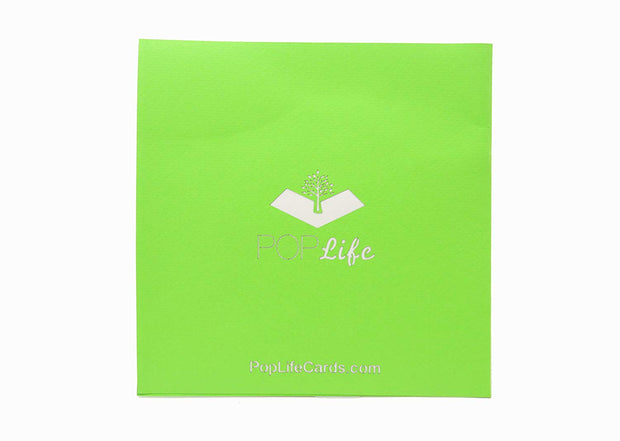Back cover of card with green color and printed PopLife logo