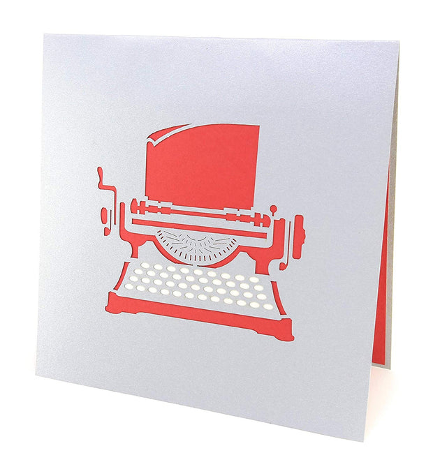 Front cover of card with grey color features typewriter