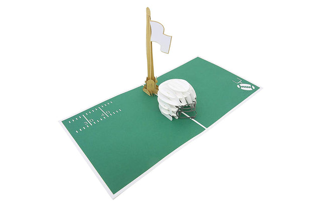 Greeting card with lovely football field backdrop