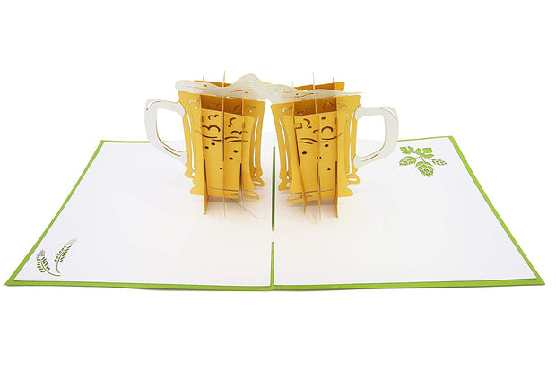 Two beer mug glasses pop-up card