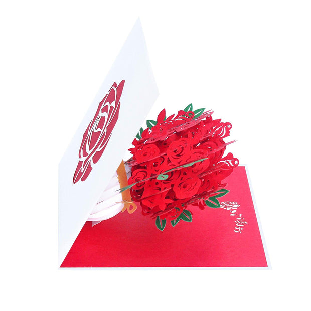 Red Rose Bouquet Pop Up Card
