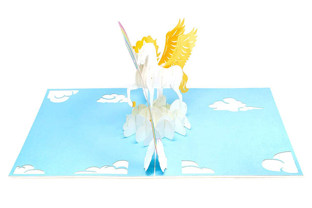 PopLife Pop-up card features mythical unicorn and colorful rainbow
