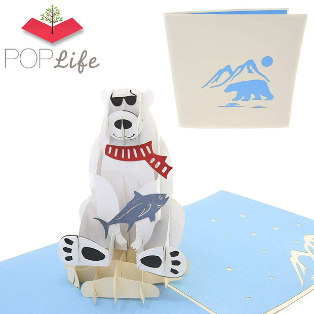 Polar Bear & Fish Animal Pop Up Card