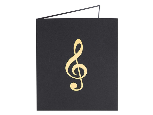 Front cover of card with black color features treble clef  design
