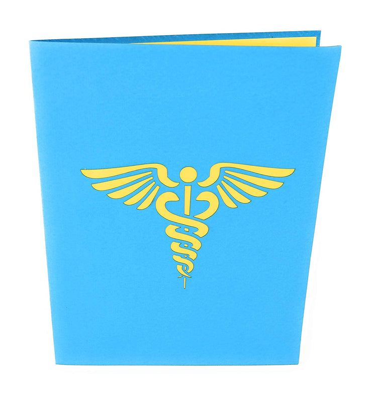 Front cover of card with blue color features Caduceus, staff of Hermes