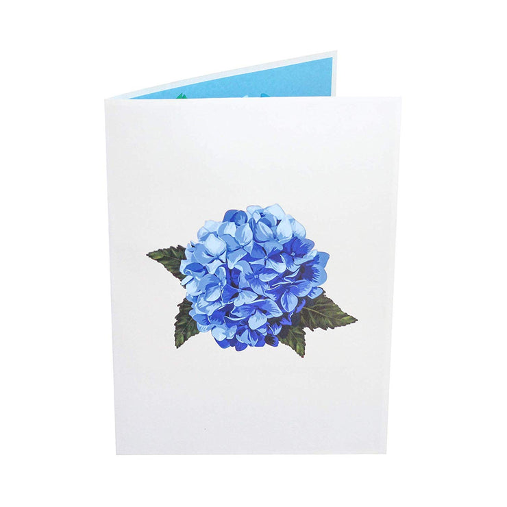Front cover of card with light gray color features blue hydrangea flower