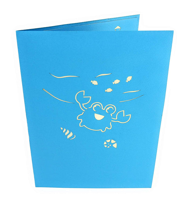 Front cover of card with blue color features crab and other marine life