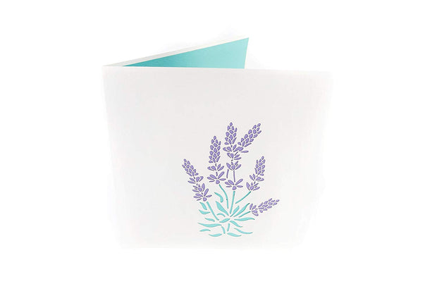 Front cover of card with light grey color features French lavender flowers