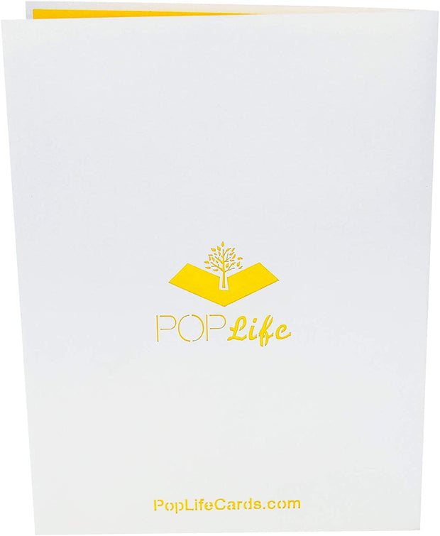 Back cover of card with light grey color and printed PopLife logo