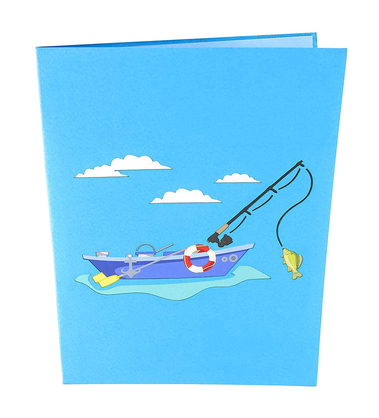 Front cover of card with blue color features fishing boat in the water and with clouds