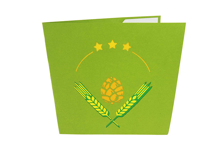 Front cover of card with green color features hops and barley design