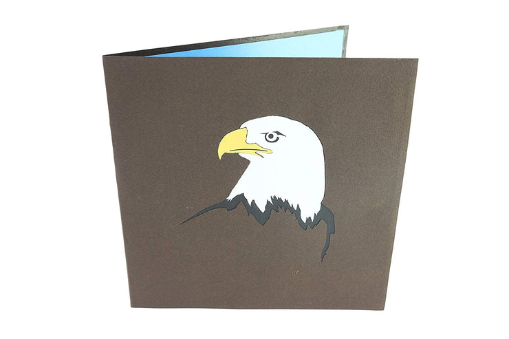 Front cover of card with grey color features an eagle head