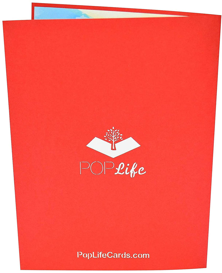 Back cover of card with red color and printed PopLife logo