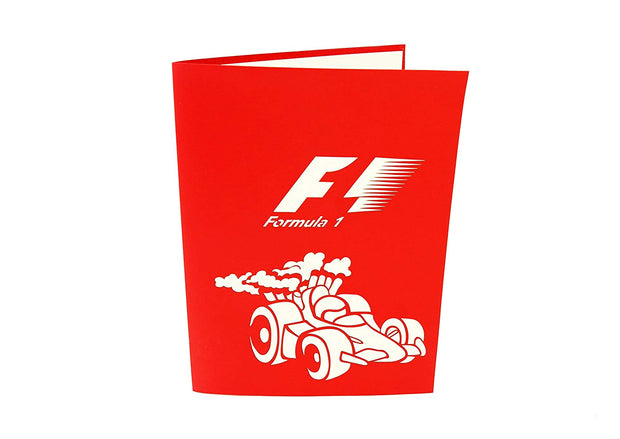 "Front cover of card with red color features ""F1 Formula 1"" Racing Car"