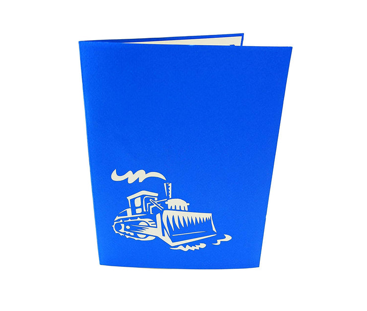 Front cover of card with blue color features bulldozer