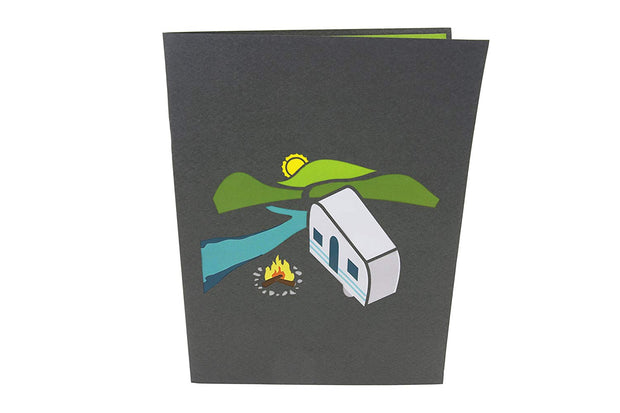 Front cover of card with light black color features camping scene