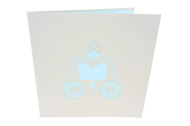 Front cover of card with gray color features a beautiful carriage