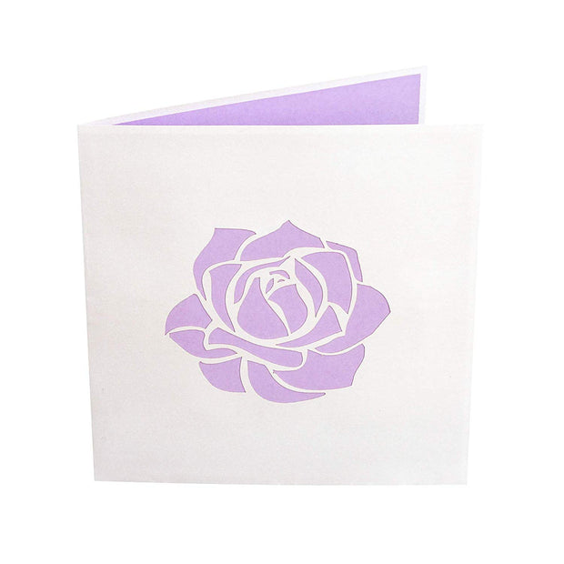 Front Cover of PopLifes Pink Roses Bouquet Card Has Laser Cut Purple Rose Outlines To Show Image of Inside