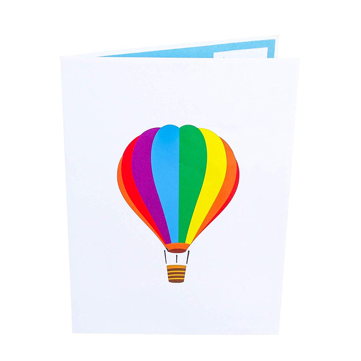 Front cover of card with light grey color features rainbow colored hot air balloon design